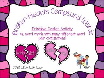 Broken Hearts Compound Words Printable Center Activities