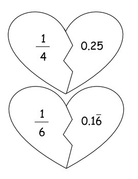 """Broken Hearts"" Fraction and Decimal Equivalencies Match-Up ~ Center Activity"