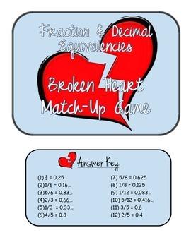 """Broken Hearts"" Fraction and Decimal Equivalencies Match-U"