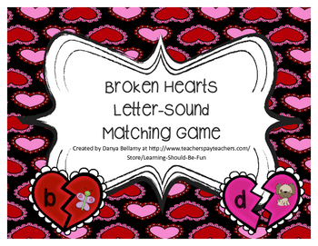 Broken Hearts:  Letter-Sound Matching Game
