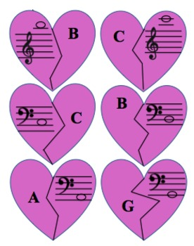 Broken Hearts Music Matching Game - Notes in Treble and Bass Clefs Updated