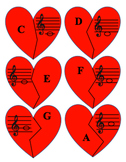 Broken Hearts Music Matching Game - Notes in Treble and Ba