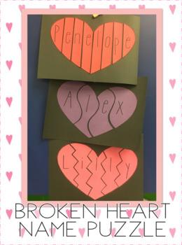 Broken Hearts Name Puzzle Craft