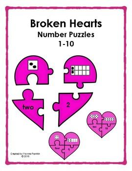 Broken Hearts Number Puzzles 1-10