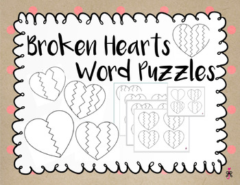 Spelling / Letter Recognition - Broken Hearts Word Puzzles