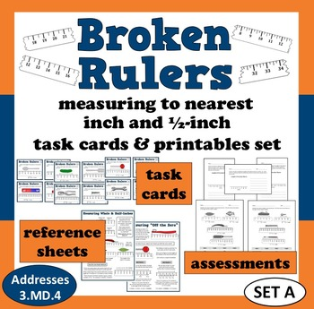 Broken Rulers measure to nearest inch & 1/2-inch task cards + printables (set a)