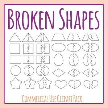 Broken Shapes Clip Art Set for Commercial Use