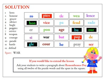 Broken Words (A Remembrance Day puzzle)