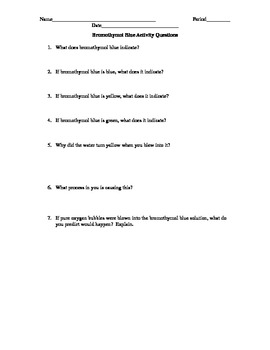 Bromothymol Blue Activity Questions