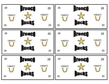 Bronco Bucks Classroom Reward Money