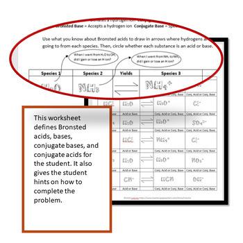 Bronsted Acid Base Worksheet