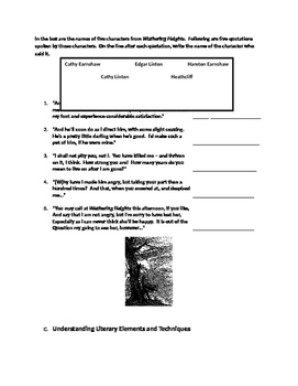 Bronte's Wurthering Heights Master Packet with KEY:  Common Core Test