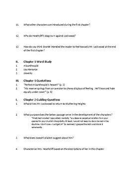 Bronte's Wuthering Heights - Ch 1-3 Comprehension Questions