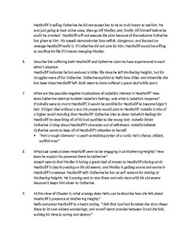 Bronte's Wuthering Heights - Ch 10 Comprehension Questions