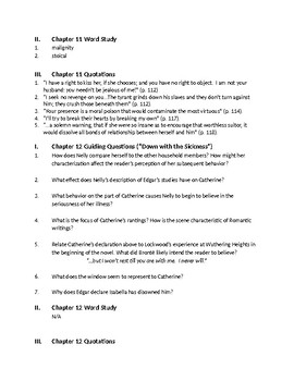 Bronte's Wuthering Heights - Ch 11-13 Comprehension Questions