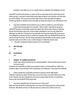 Bronte's Wuthering Heights - Ch 14-16 Comprehension Questions