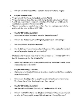 Bronte's Wuthering Heights - Ch 17-22 Comprehension Questions