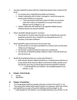 Bronte's Wuthering Heights - Ch 4-6 Comprehension Questions