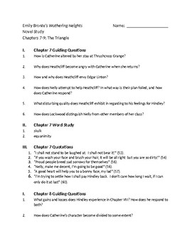 Bronte's Wuthering Heights - Ch 7-9 Comprehension Questions