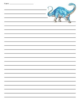 Brontosaurus Dinosaur Lined Paper