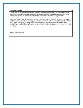 Bronx Masquerade Full Flexible Unit Plan (Designed for 7th/8th grades)