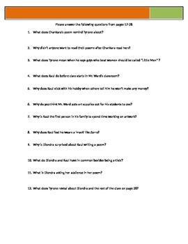 Bronx Masquerade - Grimes - p17-28 Questions