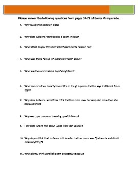 Bronx Masquerade - Grimes - p56-72 Questions