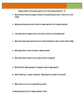 Bronx Masquerade - Grimes - p73-92 Questions