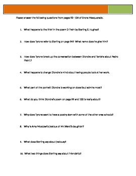 Bronx Masquerade - Grimes - p92-104 Questions