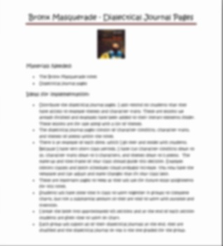 Bronx Masquerade by Nikki Grimes - Dialectical journal pages grades 6-9