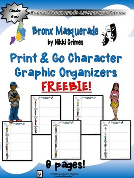 Bronx Masquerade by Nikki Grimes Print & Go Character Graphic Organizer Freebie