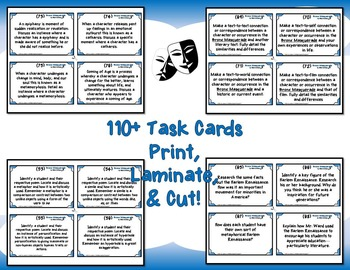 Bronx Masquerade by Nikki Grimes High Order Thinking and Analysis Task Cards