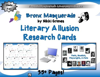 Bronx Masquerade by Nikki Grimes Literary Allusions Research Cards