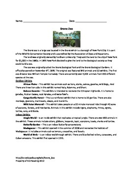 Bronx Zoo - Review Article Questions Facts Vocabulary Activities