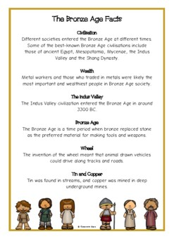 Bronze Age Fact Cards