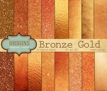 Bronze Copper Gold Glitter Digital Paper and Scrapbook Textures