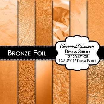 Bronze Foil Texture Background Digital Paper 1357