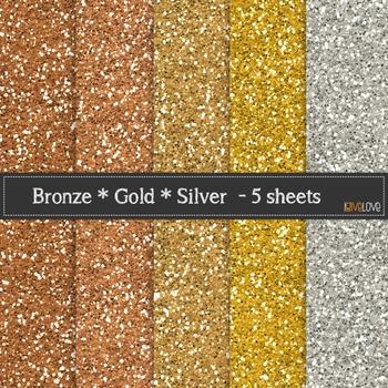 Bronze Gold Silver Glitter Paper