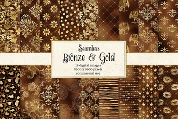 Bronze and Gold Digital Paper, seamless patterns and shimmer textures
