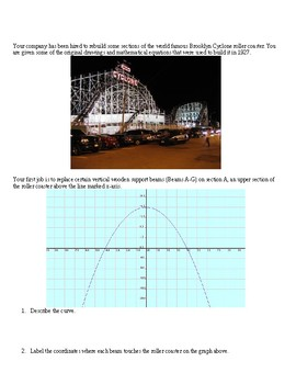 Brooklyn Cyclone Roller Coaster and Quadratic Functions Investigation