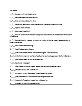 Brooklyn Rose by Ann Rinaldi 40 Question Objective Test