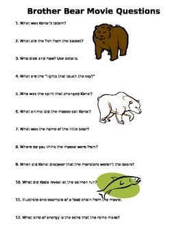 Brother Bear Movie Worksheet