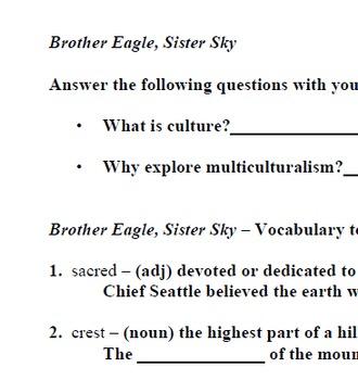 Brother Eagle, Sister Sky; Printables