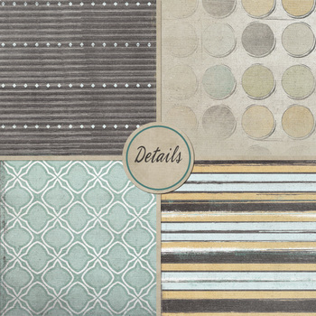 Digital Paper: Boy Background Patterns, Dots, Stripes, Slate Grey, Blue