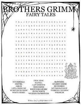 Brothers Grimm Fairy Tales word search puzzle worksheet