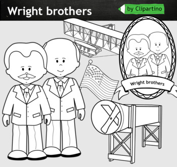 Brothers Wright clipart BW - inventors Clip Art