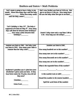 Brothers and Sisters ~ Math Activity Sheets ~ Houghton Mifflin®