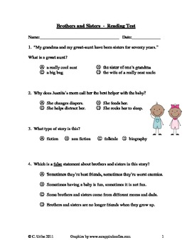 Brothers and Sisters ~ Reading Comprehension/Vocabulary Test/Quiz