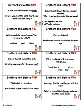 Brothers and Sisters ~ Scoot Game ~ Language Arts ~ Task Cards