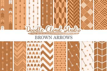 Brown Arrows digital paper, Brown Arrow patterns, tribal archery chevron.